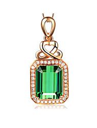 Недорогие -Жен. Зеленый Турмалин Ожерелья с подвесками симулированный драгоценный Мода Позолота Светло-Зеленый 45+5 cm Ожерелье Бижутерия 1шт Назначение Повседневные Праздники