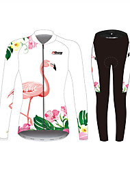cheap -21Grams Women's Long Sleeve Cycling Jersey with Tights White Solid Color Floral Botanical Bike UV Resistant Quick Dry Sports Spandex Solid Color Mountain Bike MTB Road Bike Cycling Clothing Apparel