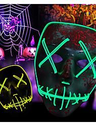 Недорогие -Светодиодная маска Brelong Halloween Party Masque Маскарадные маски Неоновая маска Свет светящийся в темноте Тушь для ресниц ужас Маска светящийся маска