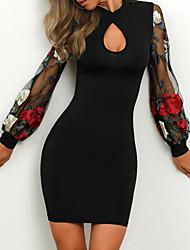Недорогие -Жен. Классический Элегантный стиль Оболочка Платье - Однотонный Контрастных цветов, Аппликация Пэчворк Вышивка Выше колена Черный