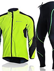 Недорогие -Nuckily Муж. Длинный рукав Велокуртка и брюки Зеленый Красный Синий Сплошной цвет Велоспорт Наборы одежды Водонепроницаемость С защитой от ветра Дышащий Влагоотводящие Анатомический дизайн Зима