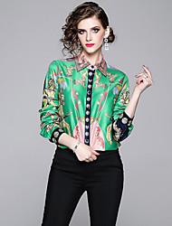 Недорогие -Жен. С принтом Рубашка Винтаж / Элегантный стиль В клетку Зеленый