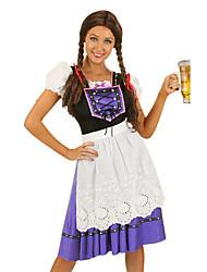 billige -Halloween Karneval Oktoberfest dirndl Dame bayerske Lilla Kjole Forklæde