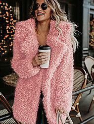 Недорогие -Жен. Повседневные Классический Длинная Пальто, Однотонный Отложной Длинный рукав Кроличий мех Черный / Розовый / Серый / Свободный силуэт