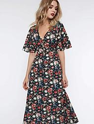 povoljno -Žene Vintage Korice Haljina - Print, Cvjetni print Midi