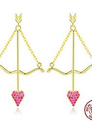 Недорогие -Подлинная стерлингового серебра 925 амура стрелка розовое сердце серьги для женщин подарок на день святого валентина ювелирные изделия bse34023