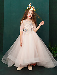 cheap -Ball Gown Court Train Flower Girl Dress - Lace / Taffeta / Tulle Half Sleeve Jewel Neck with Appliques / Lace / Crystals / Rhinestones by LAN TING Express