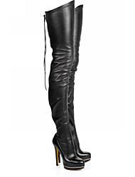 Недорогие -Жен. Ботинки На шпильке Круглый носок Полиуретан Бедро высокие сапоги Наступила зима Черный