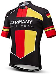 Недорогие -21Grams Германия Флаги Муж. С короткими рукавами Велокофты - Красный / желтый Велоспорт Верхняя часть Устойчивость к УФ Дышащий Влагоотводящие Виды спорта Терилен / Слабоэластичная / Быстровысыхающий