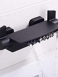 Недорогие -Ванная раковина кран - Водопад Хром / Окрашенные отделки / черный Монтаж на стену Две ручки двумя отверстиямиBath Taps