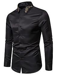 Недорогие -Муж. Вышивка Рубашка Классический / Элегантный стиль Однотонный Черный