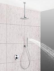 Недорогие -Смеситель для душа / Ванная раковина кран - Современный Хром Установка на потолок Керамический клапан Bath Shower Mixer Taps
