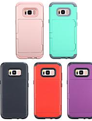 Недорогие -противоударный / однотонный / чехол для карты памяти для Samsung Galaxy S9 / S9 Plus / Galaxy S8 / S8 Plus ПК с силикагелем задняя крышка