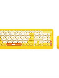 Недорогие -litbest беспроводная мультипликационная клавиатура и мышь для молодых панк-стиль 2.4 ГГц 2 пс комбо