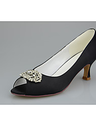 cheap -Women's Wedding Shoes Flared Heel Peep Toe Rhinestone / Sequin / Sparkling Glitter Satin Minimalism Spring &  Fall Black / White / Purple
