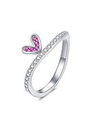 Недорогие -комиксов сердце перстни для женщин 2 цвета аутентичные стерлингового серебра 925 размер кольца группа 6 7 8 ювелирные изделия
