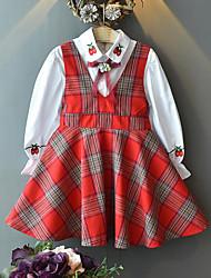 Недорогие -Дети Девочки Активный Уличный стиль На выход На каждый день В клетку Фрукты Бант Вышивка Длинный рукав Обычный Набор одежды Красный