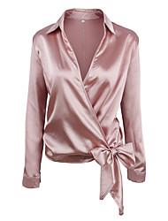 Недорогие -Жен. Пэчворк Рубашка Уличный стиль / Элегантный стиль Однотонный Розовый