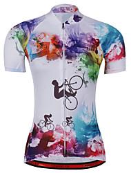 Недорогие -21Grams Радужный Узоры тай-дай Жен. С короткими рукавами Велокофты - Синий+Розовый Велоспорт Джерси Верхняя часть Дышащий Влагоотводящие Быстровысыхающий Виды спорта Терилен Горные велосипеды Одежда