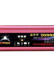 Недорогие -высокое качество автомобильный инвертор 48vand60v до 110v 2000w многофункциональное автомобильное зарядное устройство / инвертор / конвертер с USB-разъемом