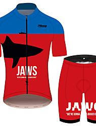 Недорогие -21Grams JAWS Кино Муж. С короткими рукавами Велокофты и велошорты - Красный + синий Велоспорт Наборы одежды Дышащий Быстровысыхающий Со светоотражающими полосками Виды спорта 100% полиэстер