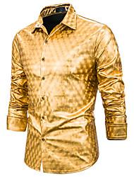 Недорогие -Муж. С принтом Рубашка Классический Геометрический принт Белый Золотой