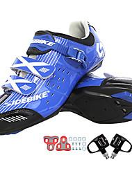 Недорогие -SIDEBIKE Взрослые Велообувь с педалями и шипами Обувь для шоссейного велосипеда нейлон Амортизация Велоспорт Белый / черный / синий Муж. Обувь для велоспорта / Искусственное волокно