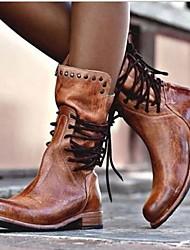 Недорогие -Жен. Ботинки На плоской подошве Круглый носок Полиуретан Сапоги до середины икры Наступила зима Черный / Коричневый / Серый