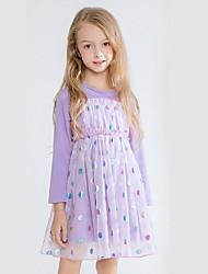 povoljno -Dijete koje je tek prohodalo Djevojčice Aktivan Na točkice Print Iznad koljena Haljina purpurna boja