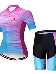 billige -EVERVOLVE Dame Kortærmet Cykeltrøje og shorts Blå+Lyserød Cykel Sport Bomuld Patchwork Bjerg Cykling Vej Cykling Tøj / Avansert / Høj Elasticitet / triathlon