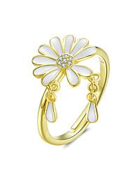 Недорогие -падающий лепесток ромашки перстни для женщин белая эмаль цветочный дизайн регулируемое кольцо стерлингового серебра 925 ювелирных изделий