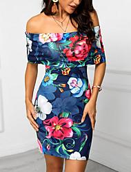 Недорогие -Жен. Классический Оболочка Платье - Цветочный принт Выше колена
