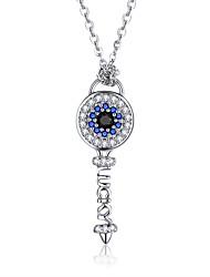 Недорогие -Аутентичные стерлингового серебра 925 пробы ключ любви ожерелья для женщин женский синий кристалл ожерелье ювелирные изделия длина цепи 38-44 см могут быть скорректированы свободно