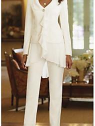 Недорогие -Из двух частей / брючный V-образный вырез В пол Полиэстер Платье для матери невесты с Каскадные оборки от LAN TING Express / Накидка включена
