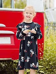 povoljno -Djeca Djevojčice Cvjetni print Do koljena Haljina Crn