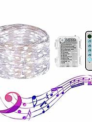 Недорогие -феери-фары loende 10 м 100 светодиодов водонепроницаемые звездные фонари с батарейным питанием с дистанционным управлением 4 режима музыки&усилитель; 8 режимов освещения мерцают огни для DIY