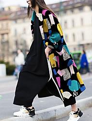 Недорогие -Жен. Повседневные Длинная Пальто, Контрастных цветов Лацкан с тупым углом Длинный рукав Полиэстер Цвет радуги