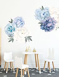 Недорогие -Модные наклейки на стену из синих цветов - плоские стикеры на стенах: цветочные, ботанические, ландшафтные, кабинет, столовая, кухня.