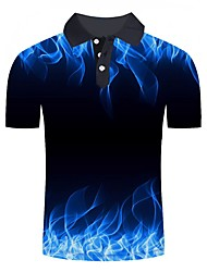 Недорогие -Муж. С принтом Polo Классический / Уличный стиль Контрастных цветов / 3D / Графика Синий