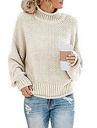 Недорогие -Жен. Однотонный Длинный рукав Пуловер, Хомут / Отложной Осень / Зима Черный / Белый / Красный S / M / L