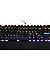 Недорогие -механическая игровая клавиатура 87 клавиш синий выключатель llluminate подсветка светодиодная клавиатура анти призрачная наручная клавиатура pro