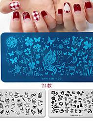 Недорогие -франция мультфильм геометрия шаблон для штамповки ногтей леопардовый глаз маникюр Nail Art изображение пластины ногтей печать трафарет