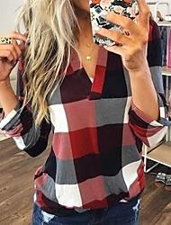 Недорогие -Жен. С принтом Рубашка Классический / Уличный стиль Геометрический принт Синий