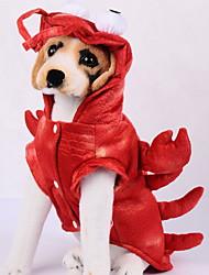 Недорогие -Собаки Инвентарь Одежда для собак Однотонный Животное Красный Полиэстер Костюм Назначение Зима Праздник Хэллоуин