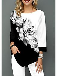 billige -Bluse Dame - Blomstret Grunnleggende Hvit