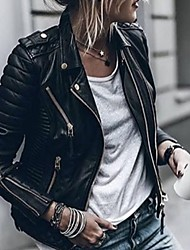 Недорогие -Жен. Повседневные Осень / Наступила зима Обычная Кожаные куртки, Однотонный Отложной Длинный рукав Полиэстер Черный / Винный / Белый