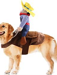 Недорогие -Собаки Инвентарь Одежда для собак В клетку Синий Полиэстер Костюм Назначение Зима Праздник Хэллоуин