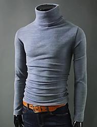 Недорогие -Муж. Однотонный Длинный рукав Пуловер, Хомут Черный / Винный / Светло-серый US32 / UK32 / EU40 / US34 / UK34 / EU42 / US36 / UK36 / EU44