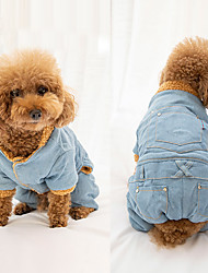 Недорогие -Собаки Комбинезоны Одежда для собак Однотонный Простой Синий Хлопко-льняная смешанная ткань Джинса Костюм Назначение Шиба-Ину Мопс Бишон Фриз Осень Зима Универсальные ковбой Euramerican