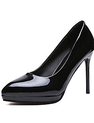 cheap -Women's Heels Stiletto Heel Pointed Toe Patent Leather Sweet / Minimalism Spring &  Fall / Fall & Winter Black / Almond / Red / Party & Evening